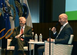 Onstage with Amazon/Blue Origin CEO Jeff Bezos, at the AFCEA 2017 Spring Intelligence Symposium